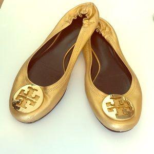 Tory Burch Classic Gold Flats Size 8
